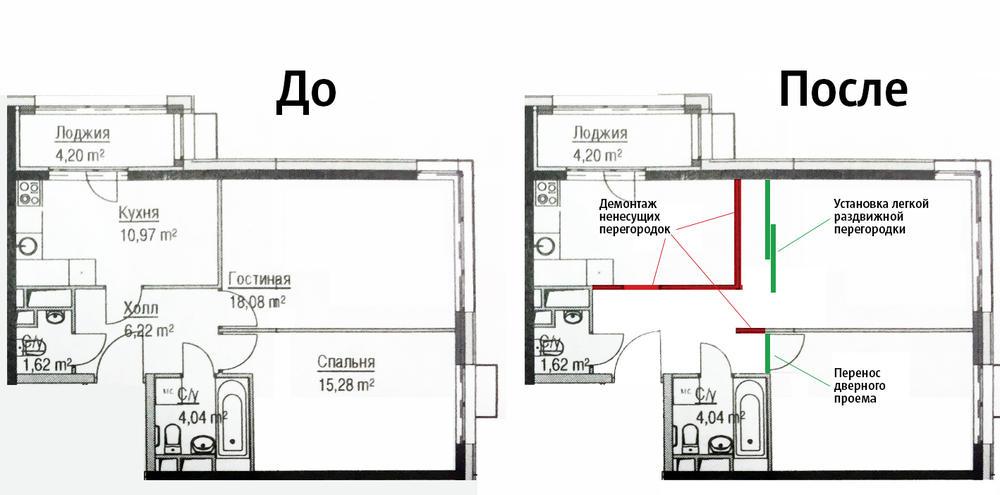 Пример объединения кухни и комнаты