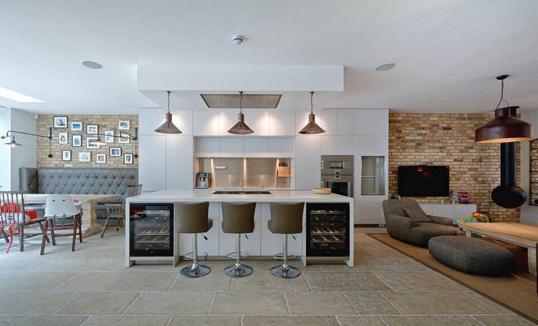 Дизайн гостиной с барной стойкой в стиле модерн