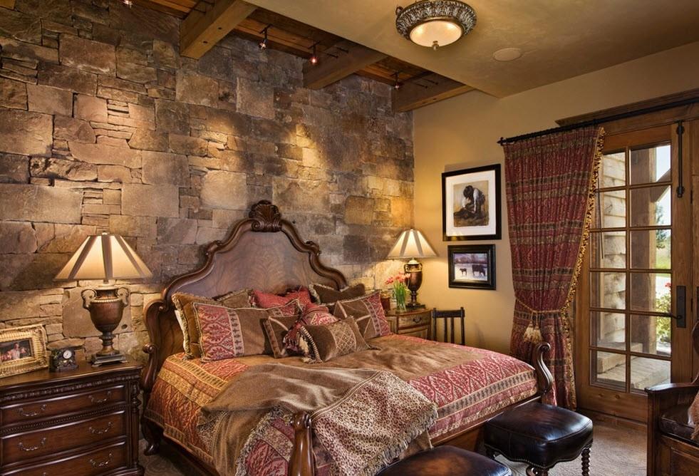 Интерьере деревянного дома с использованием декоративного кирпича