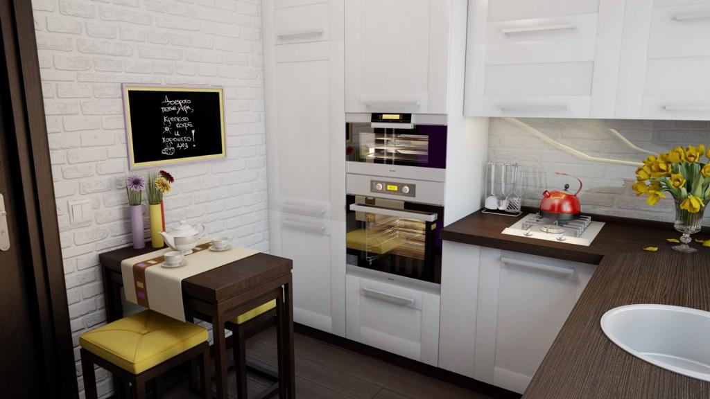Встроенные шкафы в интерьере маленькой кухни