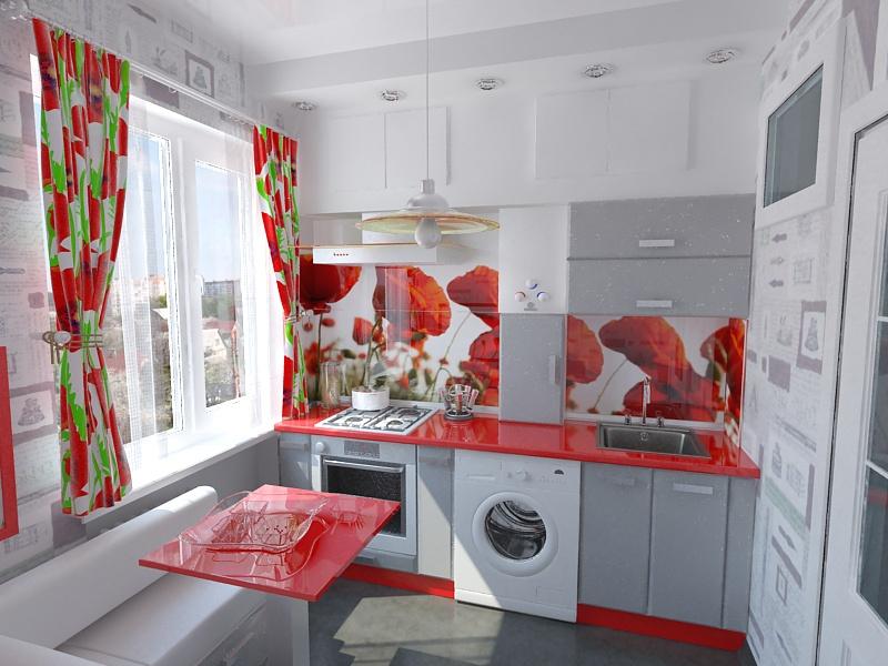Красочный дизайн маленькой кухни в квартире