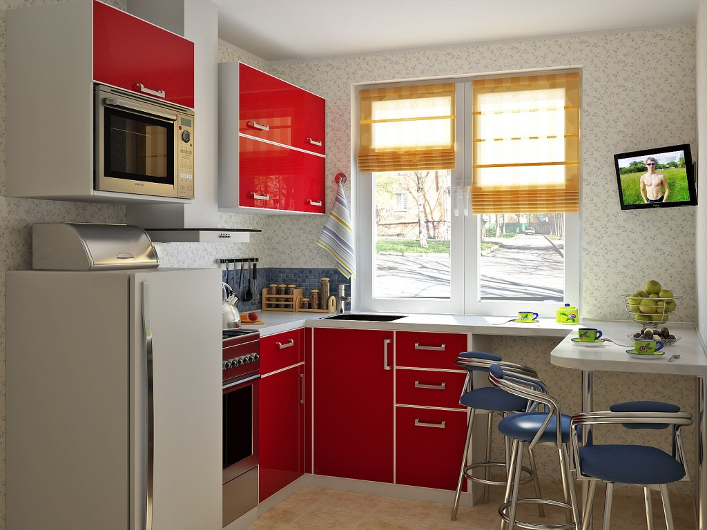 Городская малогабаритная кухня в бело-красных тонах