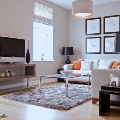 Гостиная комната с угловым диваном