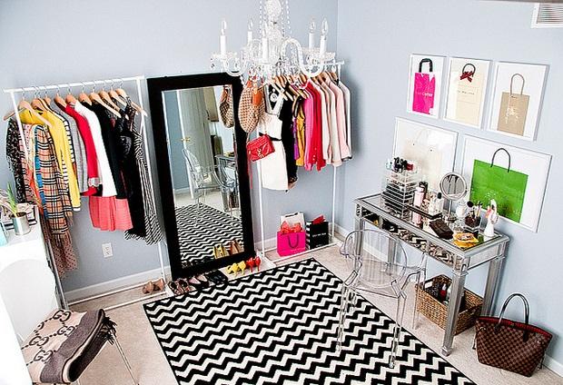 Дизайн женской гардеробной комнаты