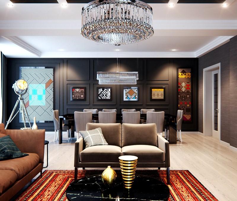 Современное решения для интерьера квартиры с элементами классики