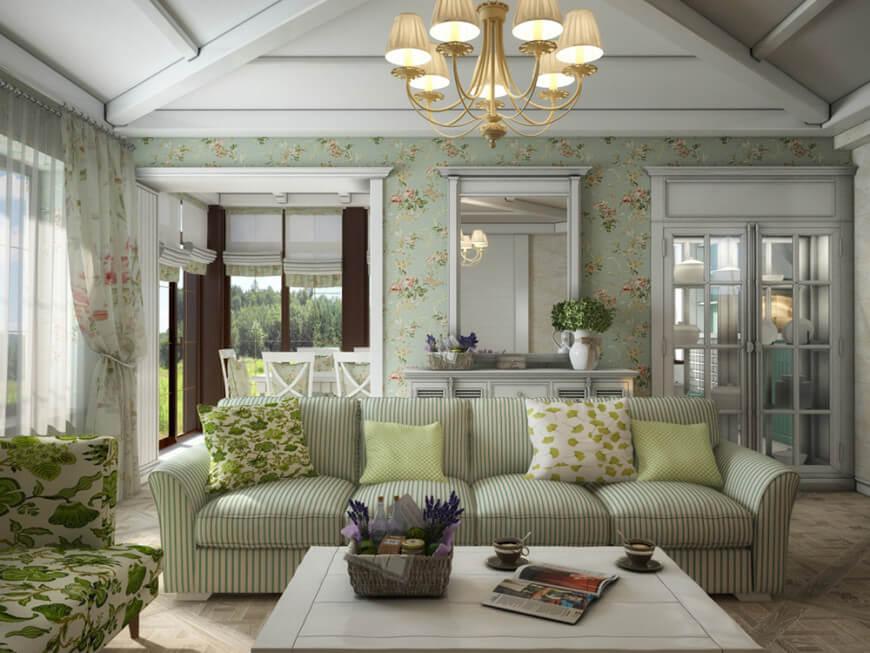 балки на потолке в стиле прованс