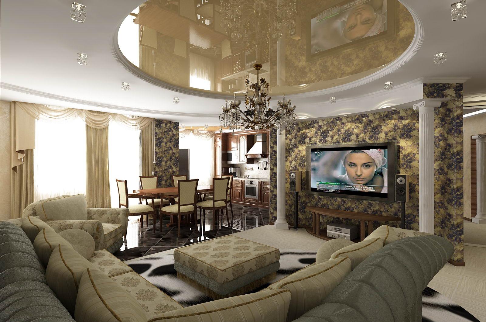 Стильный дизайн интерьера зала в квартире