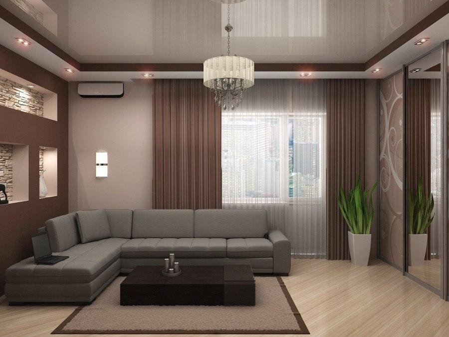 Потолок натяжной в современной гостиной