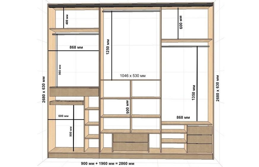 Схема встроенного шкафа-купе