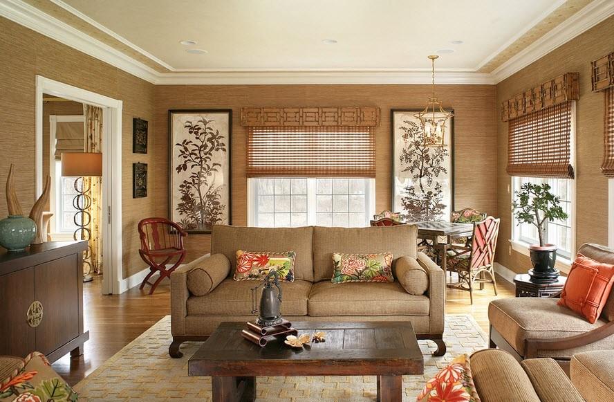 Природность интерьера с бамбуковыми обоями