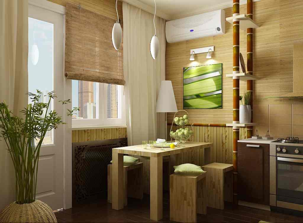 Бамбуковые обои в интерьере кухни в сочетании с мебелью из натурального дерева