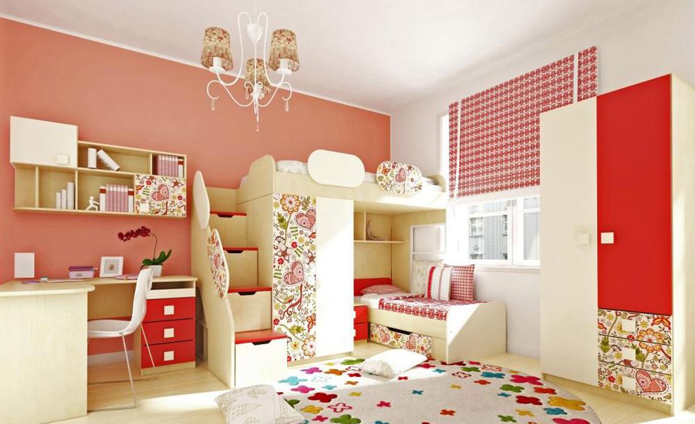 Яркий дизайн комнаты для детей разного возраста