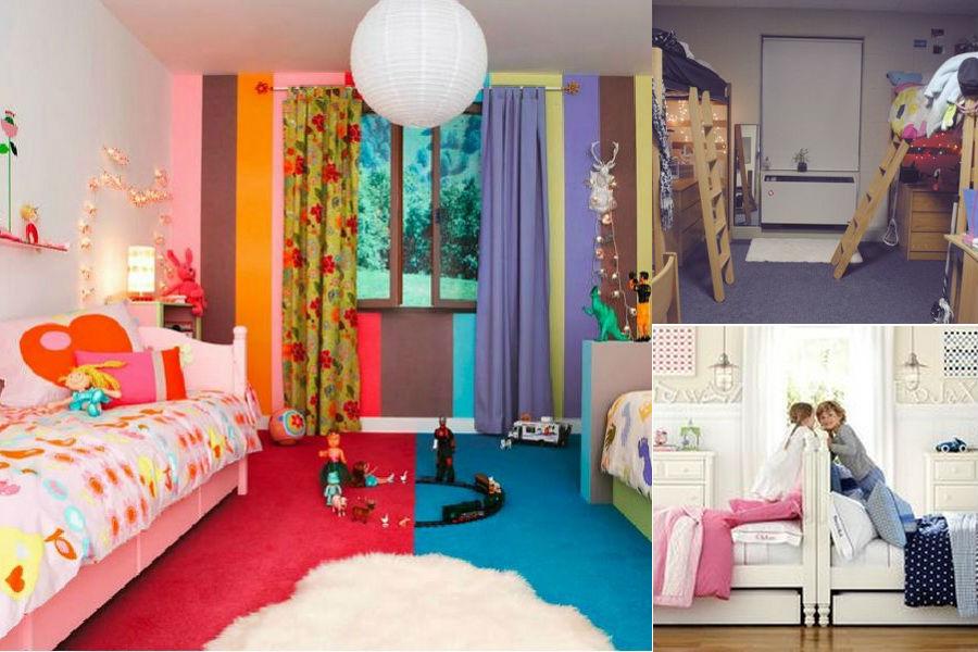 Зонирование комнаты для разнополых детей