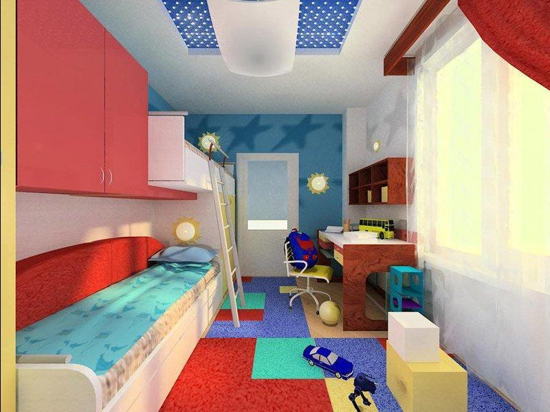 Дизайн узкой комнаты для мальчика