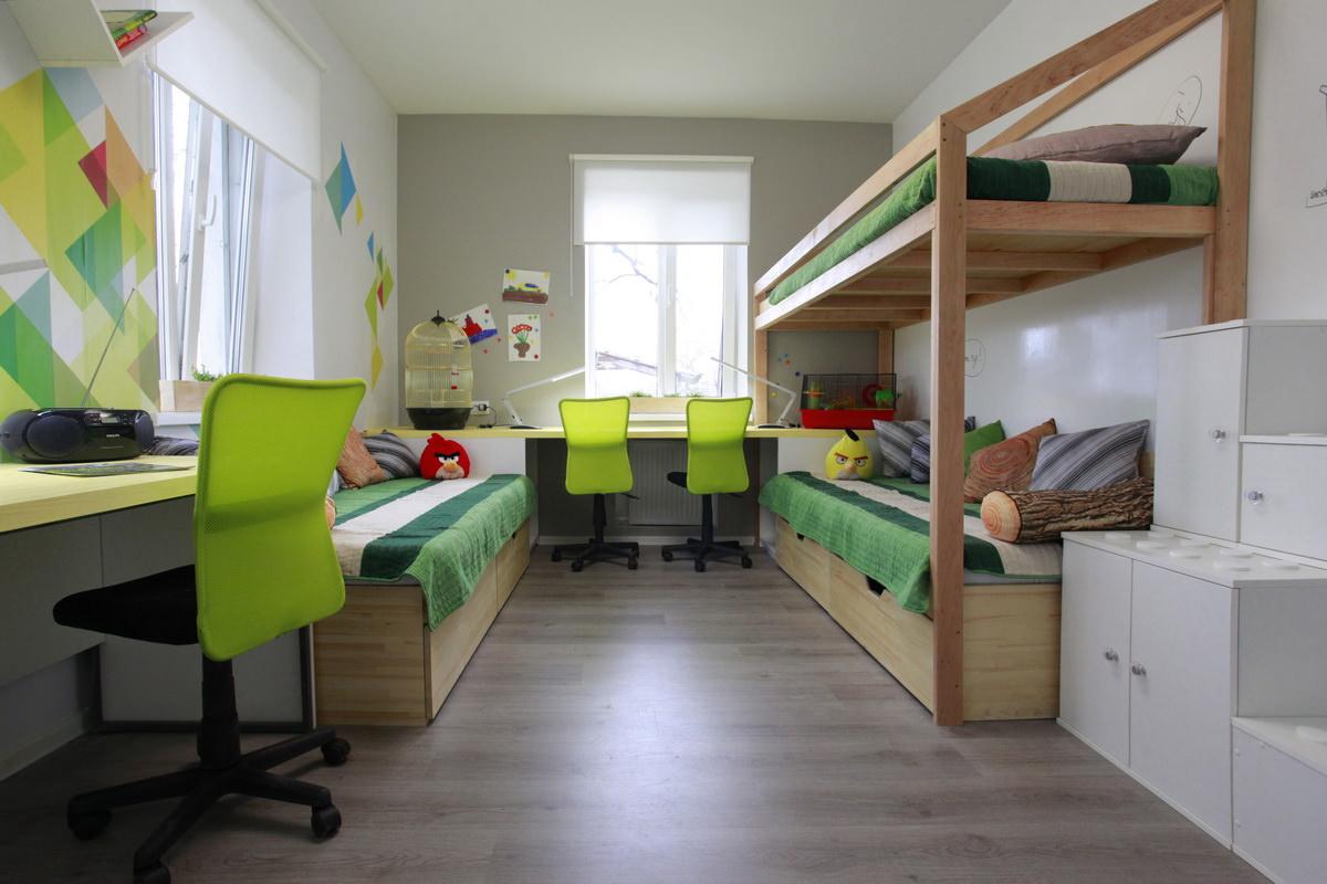 Интерьер комнаты 18 кв.м детская-спальня фото