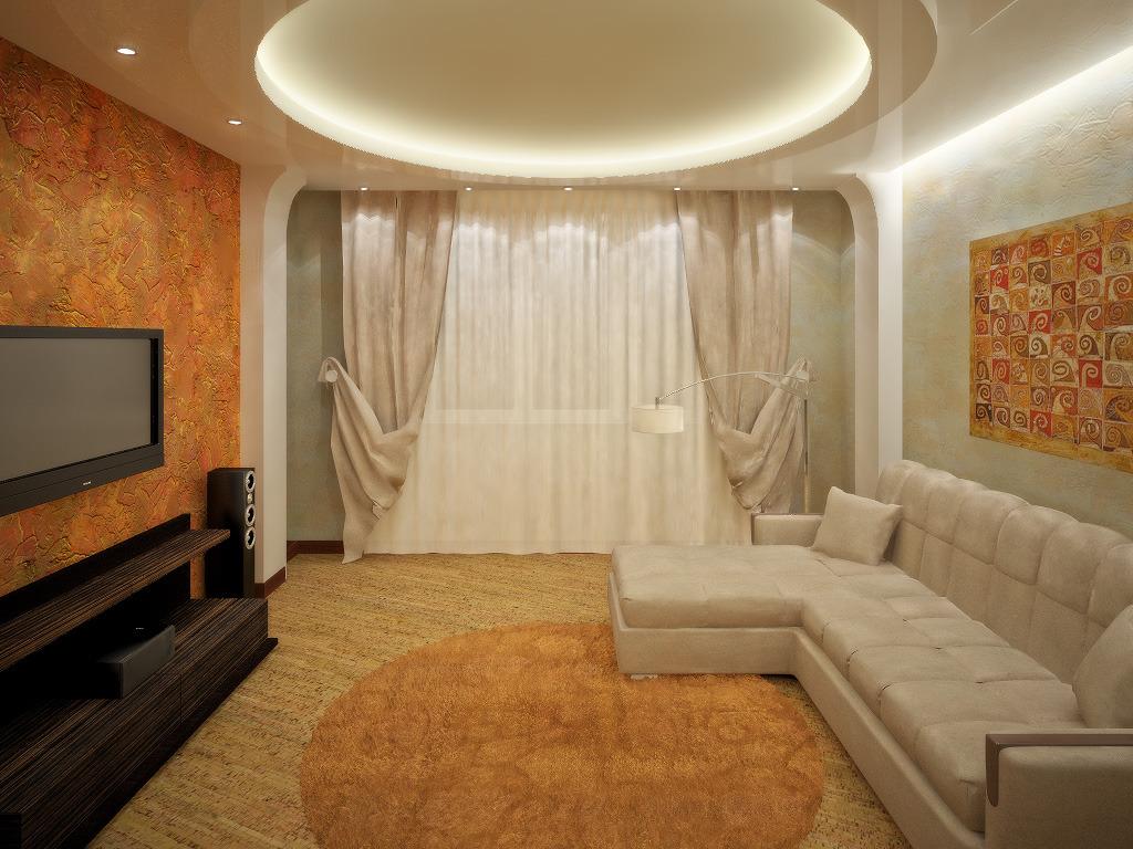 Дизайн интерьера зала в мягких тонах