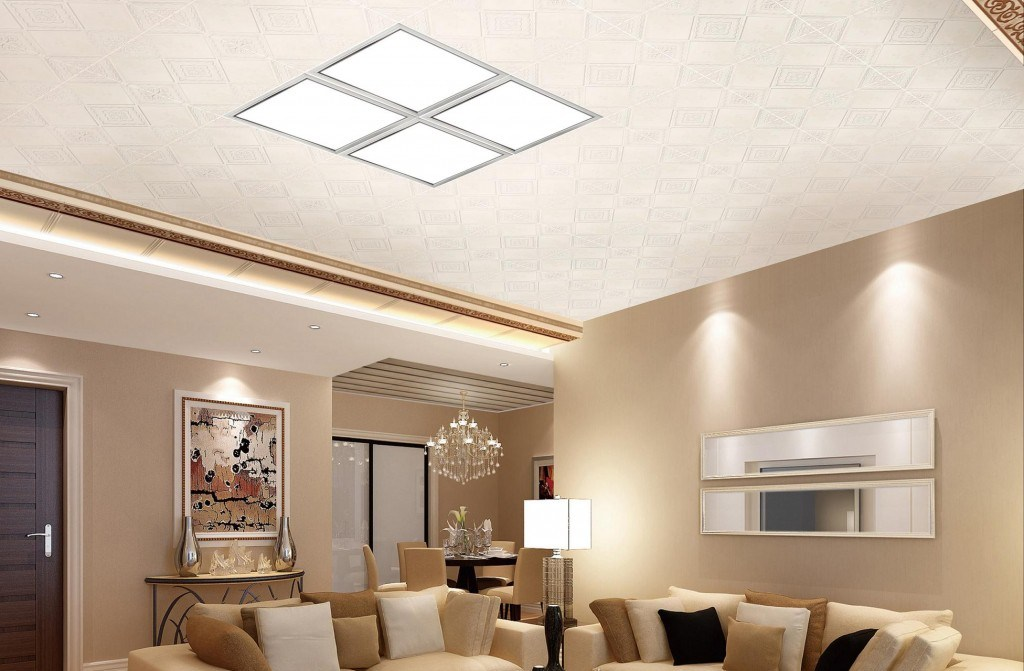 Подвесной потолок имеет достаточно строгий вид
