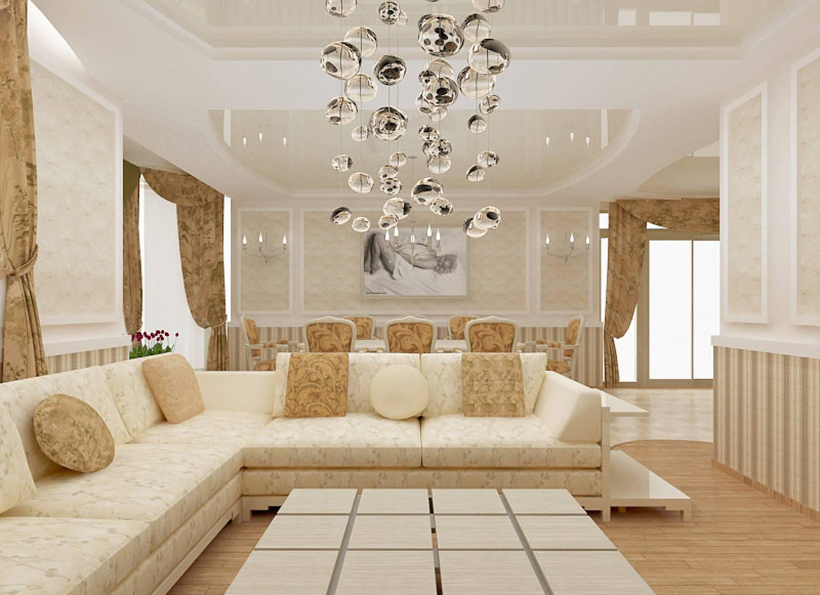 Натяжной потолок прекрасно вписывается в габариты гостиной