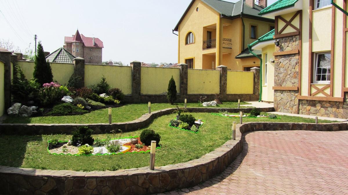 Фото ландшафтного дизайна двора частного дома