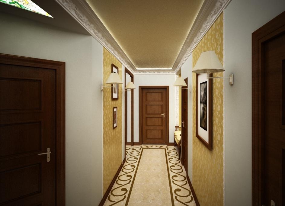 Стильные картины в длинном коридоре