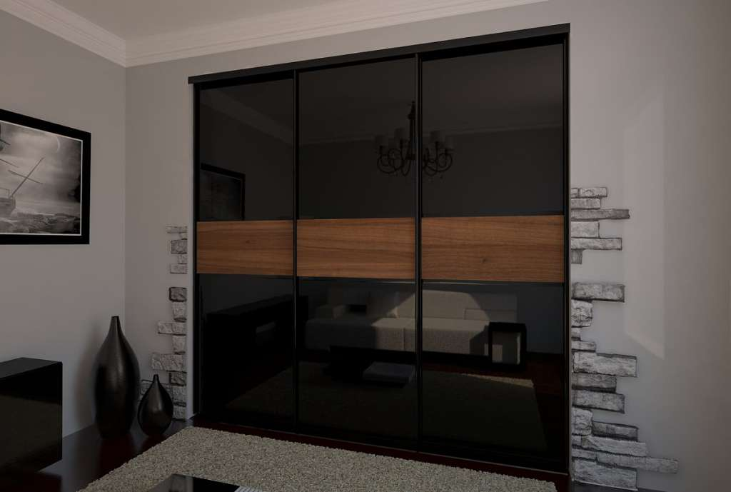 Темный шкаф-купе подойдет для интерьера в стиле минимализм