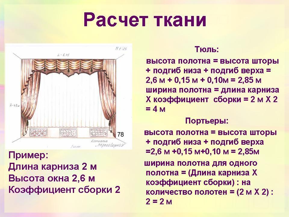 Расчет ткани для тюля и портьеры
