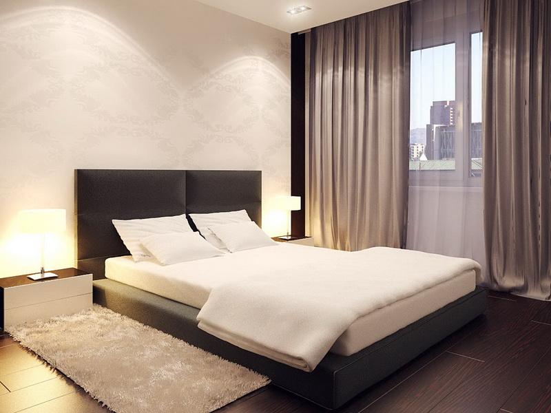 Шторы в спальне в стиле минимализм