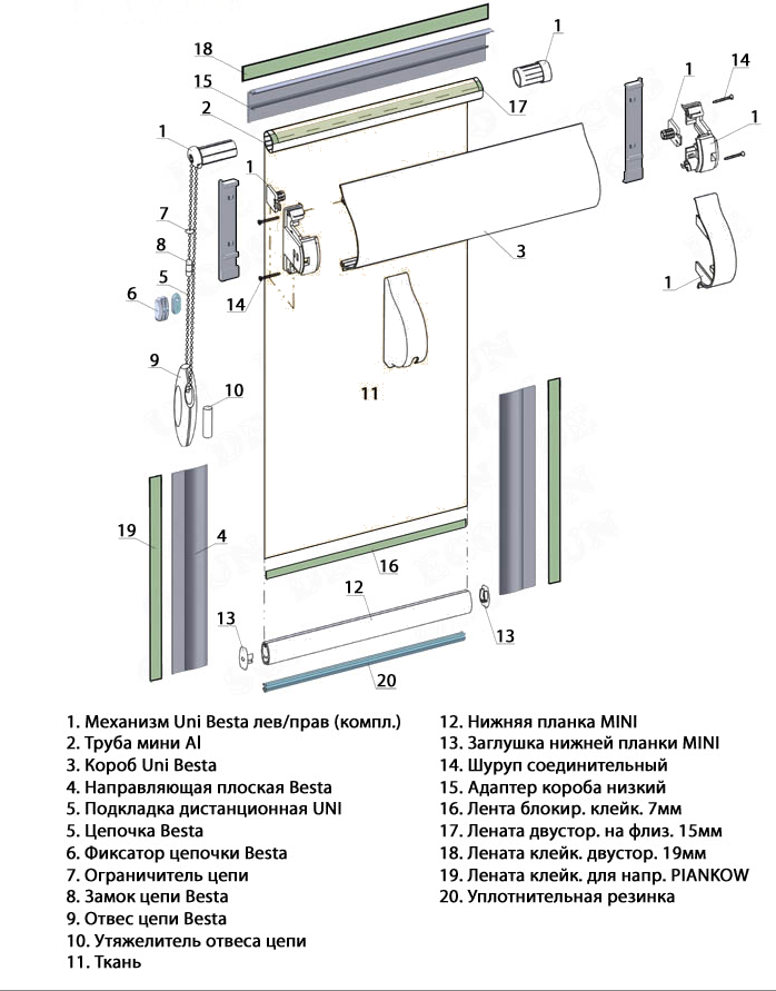 Система для рулонных штор закрытого типа