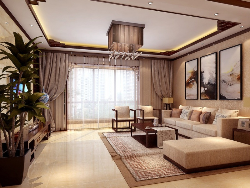 Тюль в гостиной в современном стиле