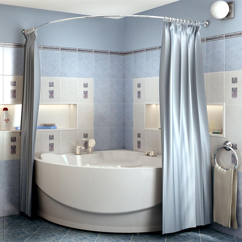 Атласная шторка делает ванную особенно изысканной и романтичной