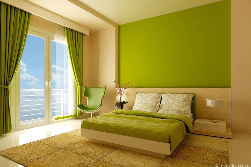 В спальне в стиле минимализма карниз можно спрятать за подвесной потолок