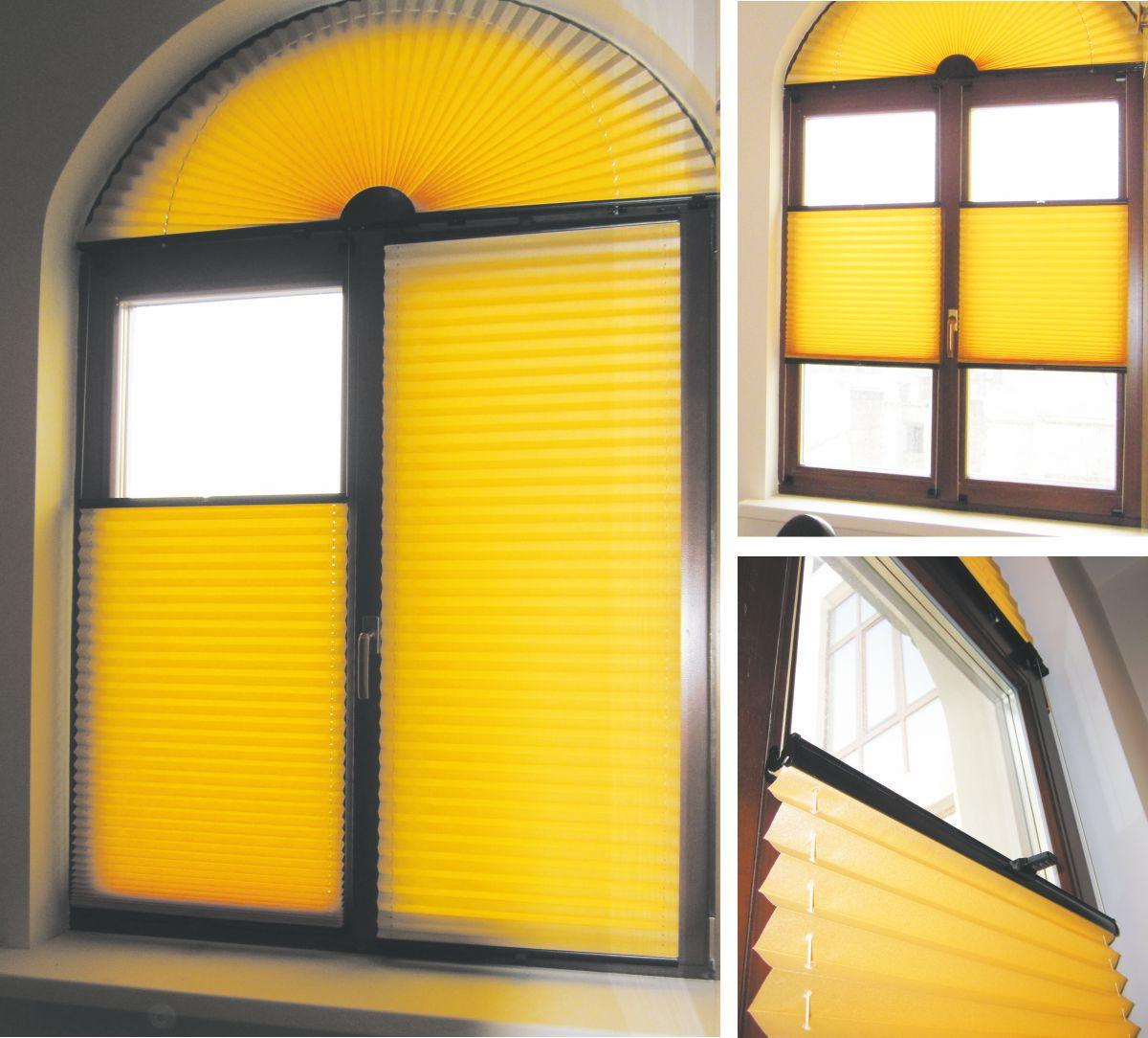 Веерная конструкция отлично подойдет для окон в форме полукруга
