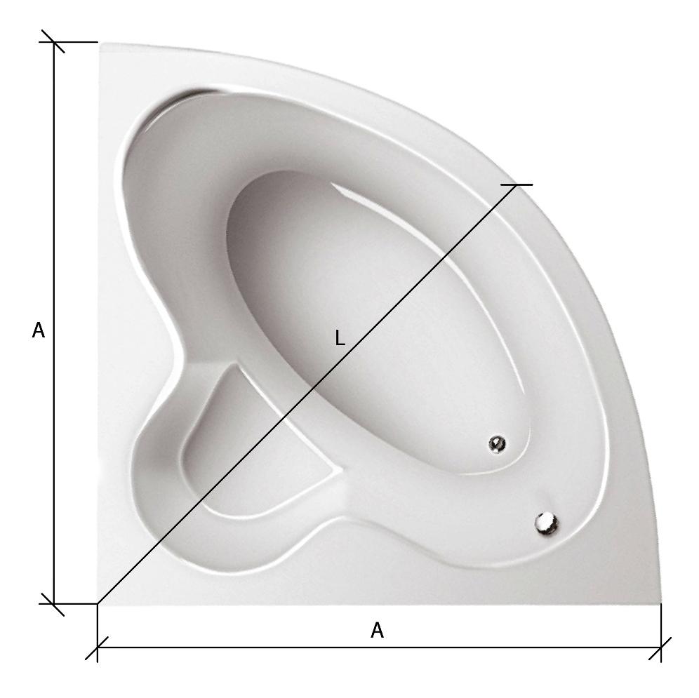 Схема замера карниза на симметричную ванну