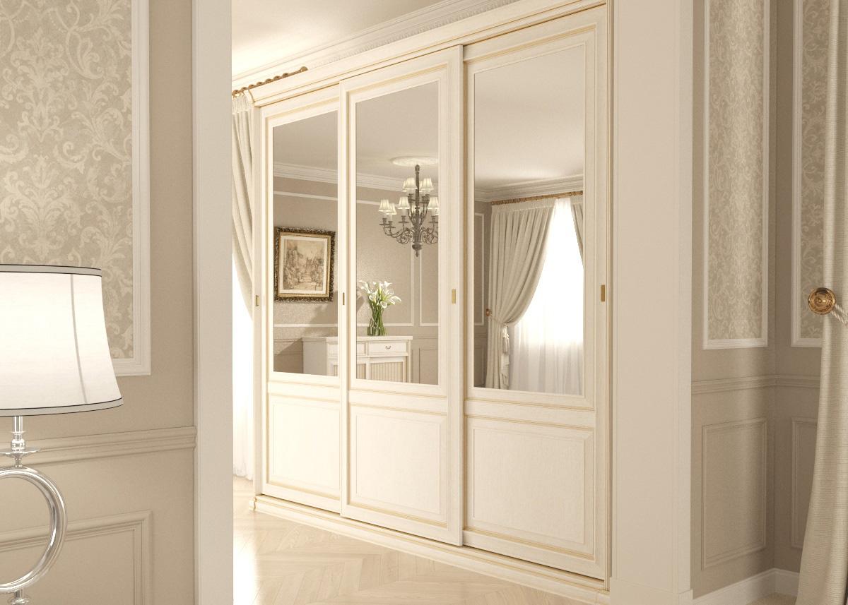 Белый шкафкупе в классическом стиле