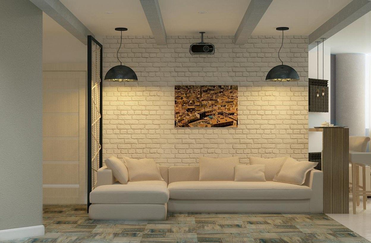 Дизайн-проект гостиной в стиле лофт