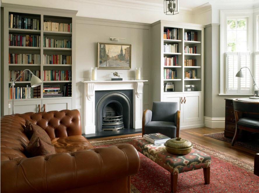 Книжные стеллажи в гостиной