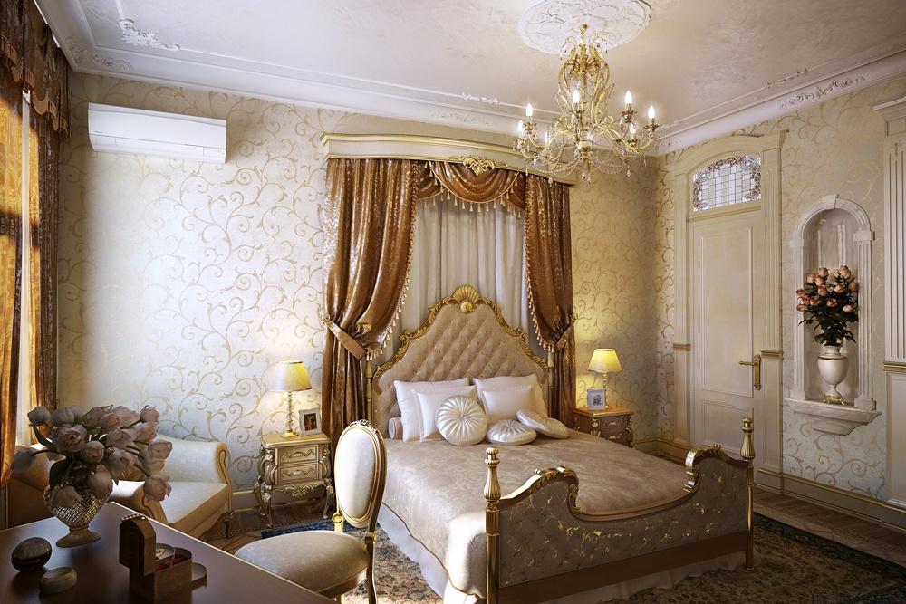 Шторы над кроватью в классическом интерьере