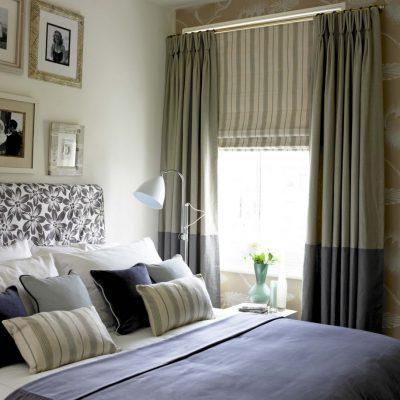 Комбинирование штор в спальне