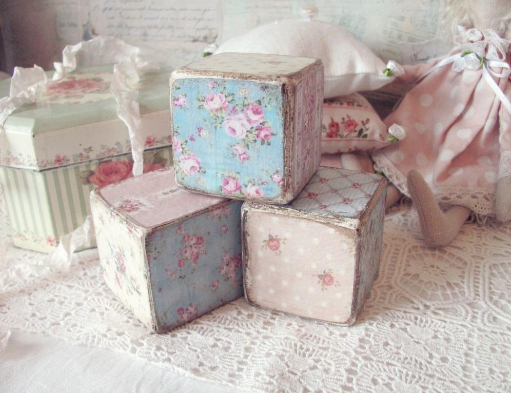 Кубики для детской в стиле шебби-шик