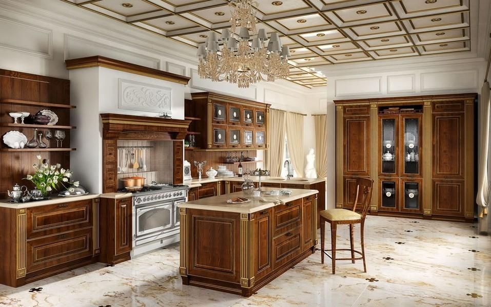 В просторной кухне ампир будет умастна большая массивная люстра