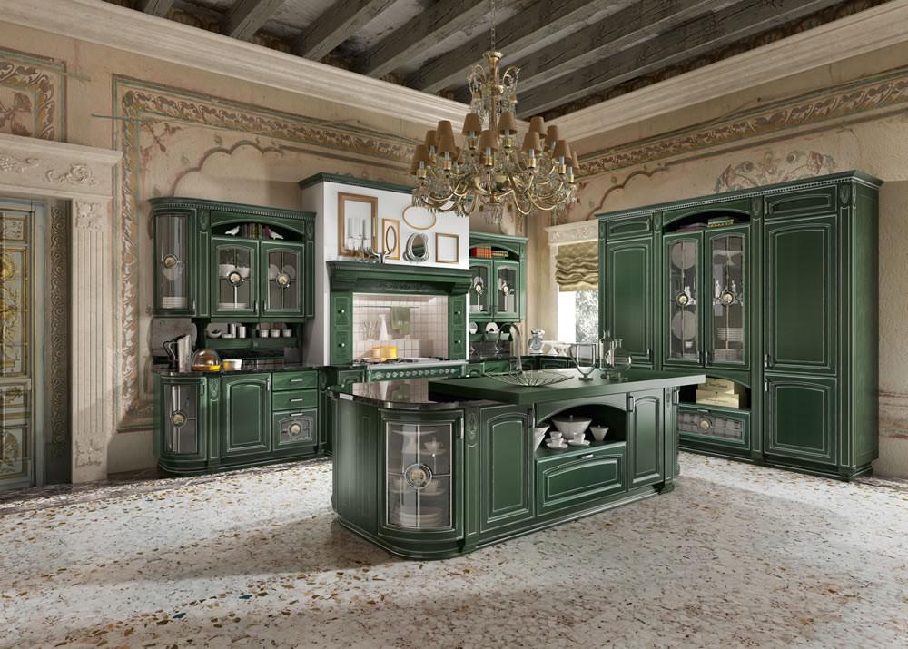 Кухня в необычном для ампира зеленом исполнении