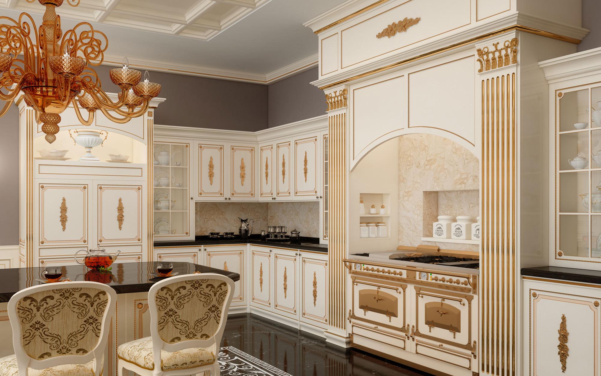 Кухонную мебель для стиля ампир выполняют преимущественно в светлых тонах