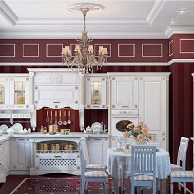 Бордова-белая кухня в стиле ампир