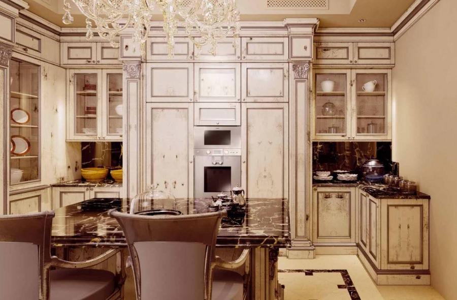 Хрустальная люстра на кухне ампир