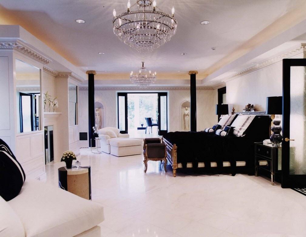 Черноелая спальня в греческом стиле