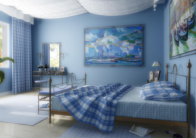 Детали спальни в греческом стиле