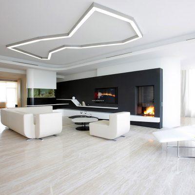 Дизайн интерьера гостиной в бело-черных тонах