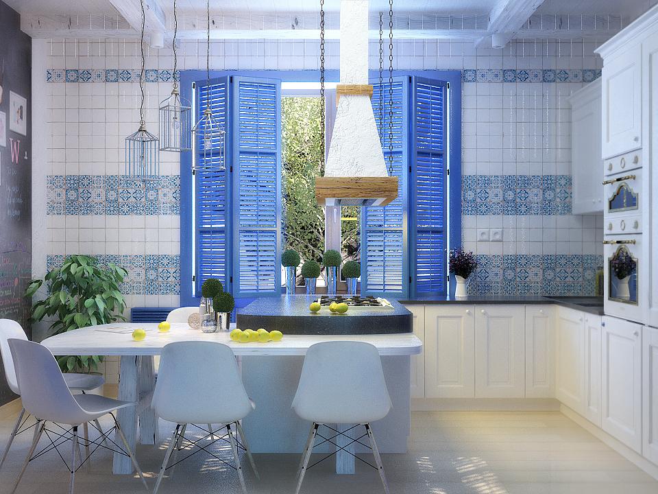 Дизайн кухни в греческом стиле