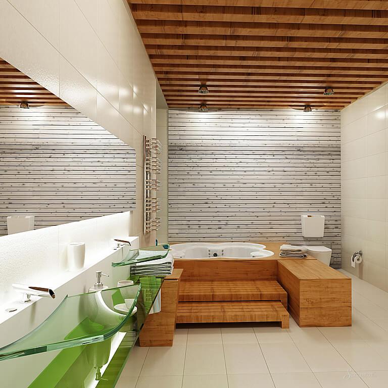 Дизайн ванной в эко стиле