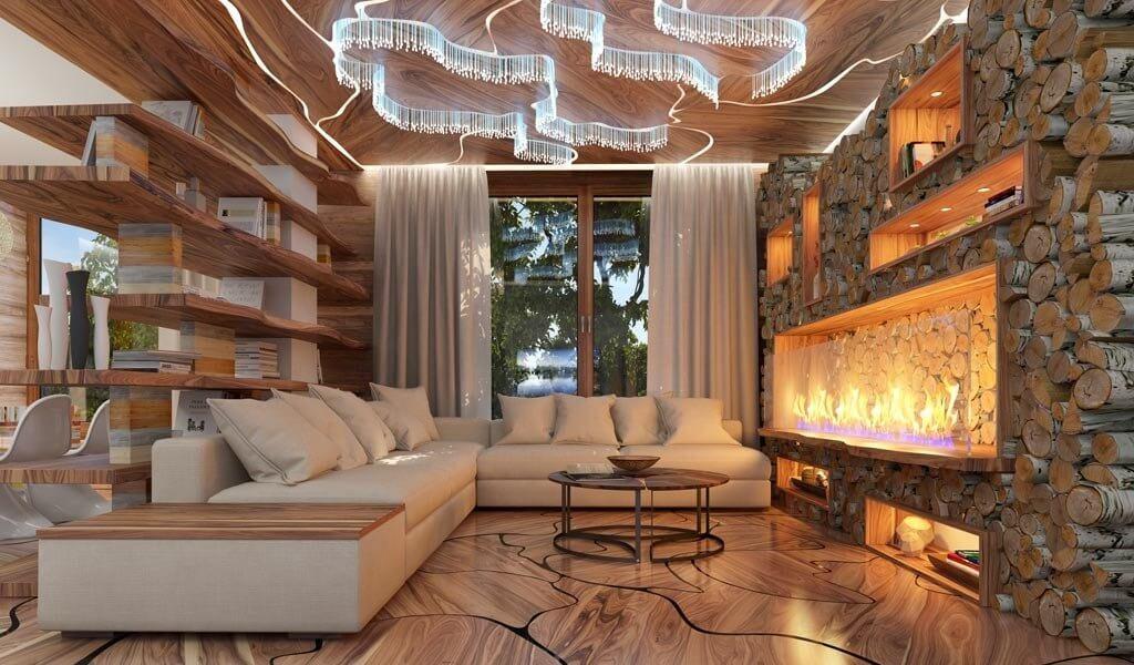 Ассиметричные формы в гостиной в экостиле
